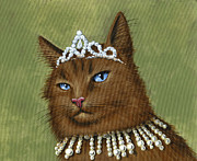 Tiara Paintings - Dont Come Too Close...cat art painting by Amy Giacomelli