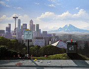 Park Scene Paintings - Dont Dump on Seattle by Ian Henderson