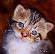 Baby Kitten Art Drawings Prints - Dont Leave Me Behind Print by Caron Wiedrick