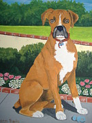 Boxer Painting Framed Prints - Dont Touch the Binky Framed Print by Norm Starks