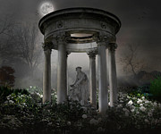 Sleepy Digital Art Prints - Dont Wake Up My Sleepy White Roses - Moonlight Version Print by Bedros Awak