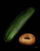 Donut Posters - Donut and Cucumber Poster by Peter Piatt