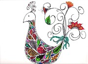 Lori Thompson Metal Prints - Doodle Bird Metal Print by Lori Thompson
