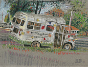 Bus Pastels - Doodle Bugs Daycare Bus by Donald Maier