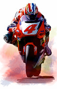 Nj Drawings - Doohan Mick Doohan by Iconic Images Art Gallery David Pucciarelli