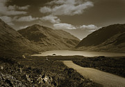 Peat Lake Posters - Doolough Pass County Mayo Ireland Sepia Poster by Jane McIlroy