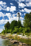 Door County Posters - Door County Cana Island Lighthouse Cloudscape Poster by Christopher Arndt