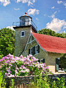 Christopher Arndt Framed Prints - Door County Eagle Bluff Lighthouse Lilacs Framed Print by Christopher Arndt