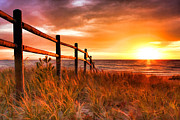 Christopher Arndt Metal Prints - Door County Europe Bay Fence Sunrise Metal Print by Christopher Arndt