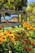 Christopher Arndt - Door County Historic Anderson Dock Fence and Flowers