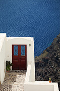White Walls Posters - Door facing the Aegean sea Poster by Aiolos Greek Collections