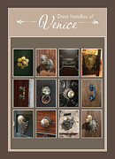 Various Digital Art Posters - Door handles of Venice Card Poster by Susanne Arens