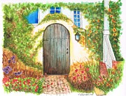 Watercolors Painting Originals - Door on Sunset - California by Carlos G Groppa
