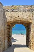Battlement Posters - Door to joy and serenity - beautiful blue water is waiting Poster by Matthias Hauser