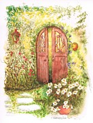 Watercolors Painting Originals - Door with a lantern by Carlos G Groppa