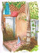 Postcards Originals - Door with flag in Venice Canal - California by Carlos G Groppa