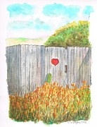 Watercolors Painting Originals - Door with heart in Lompoc - California by Carlos G Groppa
