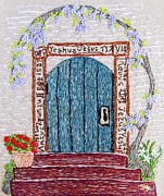 Purple Flowers Tapestries - Textiles Posters - Door with many languages Poster by Stephanie Callsen