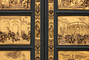 Ornate Frame Framed Prints - Doors of Paradise detail of The Florence Baptistry Framed Print by Kiril Stanchev