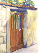French Door Paintings - Doorways of France I by Erin Rogers Pickering