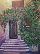 Pinks And Greens Posters - Doorways Poster by Sandra Johnson