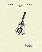 Resonator Metal Prints - Dopyera Guitar 1928 Patent Art Metal Print by Prior Art Design