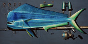 Marlin Drawings - Dorado 3D by Johnny Widmer