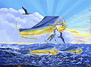 Blue Marlin Paintings - Dorado Sunrise Off0098 by Carey Chen