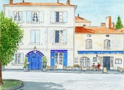 Dordogne - Bourdeilles 'deux Cafes S'il Vous Plait' Print by Peter Farrow