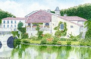 Peter Farrow Metal Prints - Dordogne - Brantome by the River Dronne  Metal Print by Peter Farrow