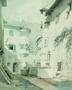 Italy Town Large Paintings - Dorfplatz In Eppan by Pg Reproductions