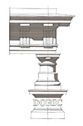Columns Drawings Metal Prints - Doric Order Metal Print by Calvin Durham