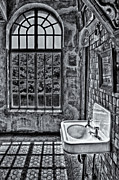 Byzantine Posters - Dormer Bathroom Side View BW Poster by Susan Candelario