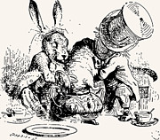 Adventures Drawings Posters - Dormouse in the Teapot Mad Tea Party Poster by John Tenniel