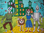 Toto Paintings - Dorothy and Friends on the Yellow Brick Road by Julie Ellison