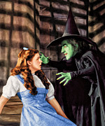 Judy Garland Framed Prints - Dorothy and the Wicked Witch Framed Print by Dominic Piperata