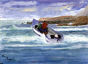 Pacific City Paintings - Dory Boat Heading To Sea by Chriss Pagani