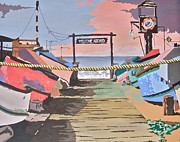 Dory Paintings - Dory Fishing Fleet -Newport Beach by Carol Mallillin-Tsiatsios