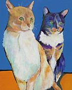 Cat Prints Framed Prints - Dos Amores Framed Print by Pat Saunders-White