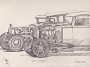 Race Drawings Originals - Dos Hombres by Larry Fox
