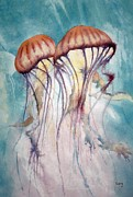 Jelly Fish Paintings - Dos Jellyfish by Jeff Lucas