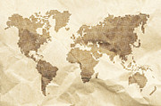 Vintage Map Digital Art Prints - Dot World old style map background Print by Deyan Georgiev