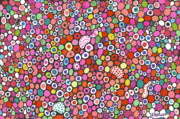 Circles Drawings Framed Prints - Dots of Joy Framed Print by Nina Kuriloff