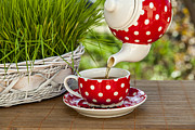 Brass Pyrography - Dots tea cup and kettle in the garden by Andrei Baican