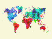 World Map Digital Art Metal Prints - Dotted World Map 2 Metal Print by Irina  March