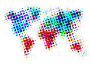 World Map Digital Art Metal Prints - Dotted World Map 4 Metal Print by Irina  March