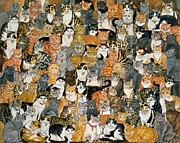 Cute Painting Posters - Double Cat Spread Poster by Ditz
