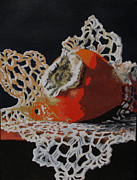Persimmon Paintings - Double Crochet by Nancie Johnson