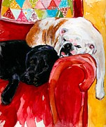 English Bulldog Paintings - Double Decker by Molly Poole