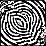 Tunnel Drawings Prints - Double Diagonal Tunnel Maze  Print by Yonatan Frimer Maze Artist